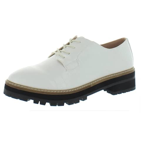 Aqua Womens Rena Loafers Faux Leather Lace-Up - White - 8.5 Medium (B,M)