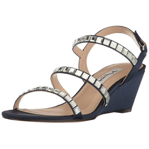 Nina Womens naleigh Fabric Open Toe Special Occasion Slingback Sandals