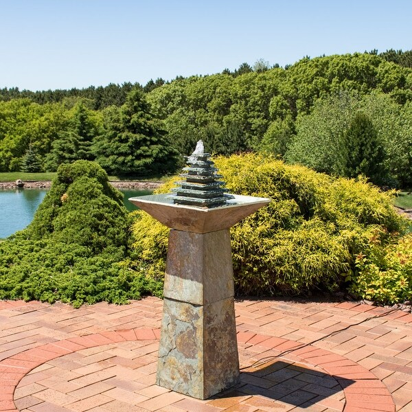 Sunnydaze Layered Slate Pyramid Outdoor Water Fountain with LED - 40 Inch Tall