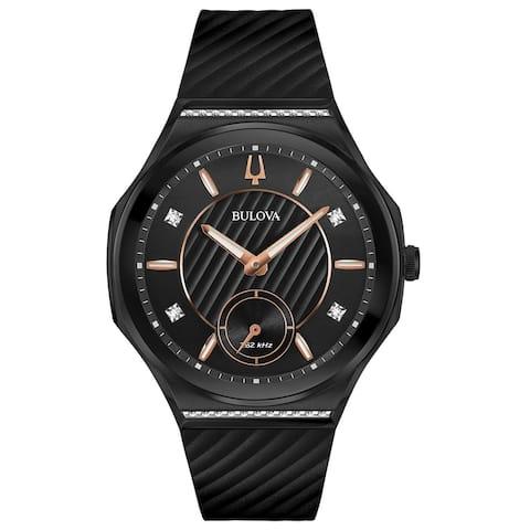 Bulova Women's 98R240 CURV Black IP Stainless Diamond Accent Rubber Strap Watch