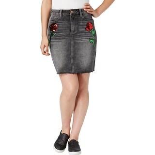 Buffalo David Bitton Womens Denim Skirt Sequined Floral