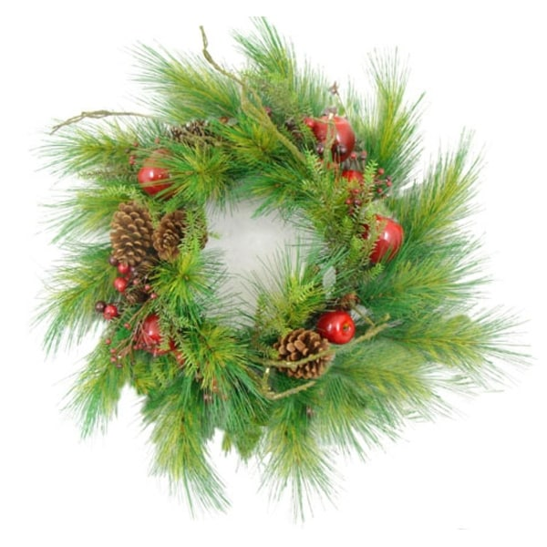 "24"" Apple, Berry & Pine Cone Artificial Christmas Wreath - green"