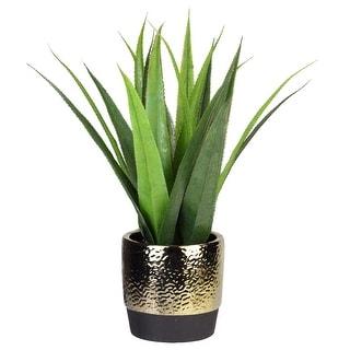 "17"" Artificial Agave Succulent in a Golden Pot"