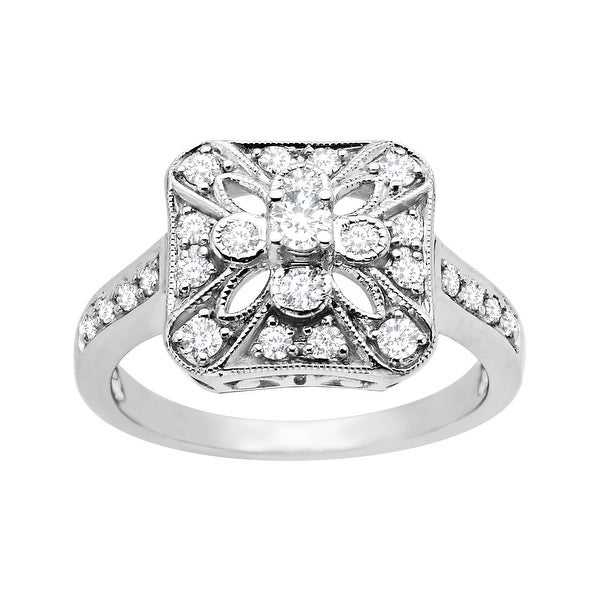 1/2 ct Vintage-Style Diamond Ring in 14K White Gold