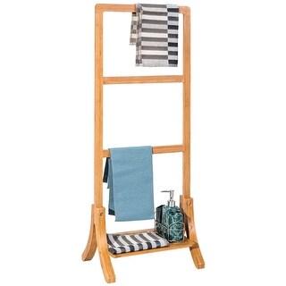 Costway Bamboo Towel Rack Stand Hanger Free Standing With Bottom Shelf  Bathroom Storage