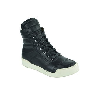 Balmain Mens Perforated Black Leather High Top Sneakers