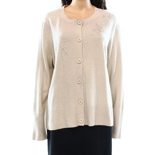 Alberto Makali NEW Beige Womens Size XL Cardigan Embellished Button Sweater