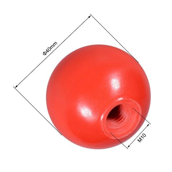 8Pcs Red Plastic Round Handle Ball Knob M10 Threaded 35mm Dia Machine Tools
