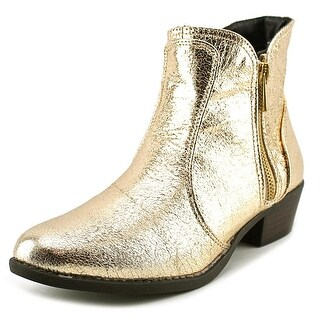 Qupid Sochi 19 Women Round Toe Canvas Gold Bootie
