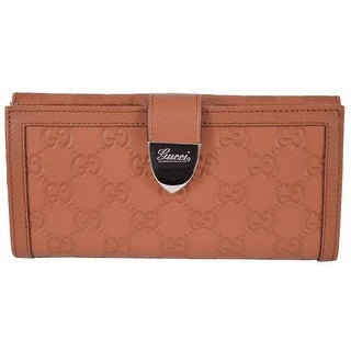 Gucci Women's 231837 TAN Leather GG Guccissima Buckle Continental Wallet