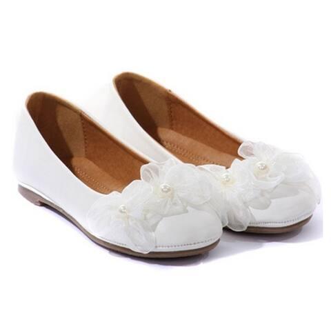 Kids Dream White Organza Flower Ballet Flats Girl Dress Shoes 4-10