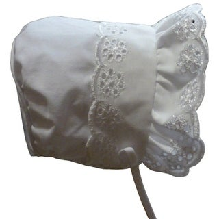NICE CAPS Baby Girls Closed Back Bonnet with Piping - White