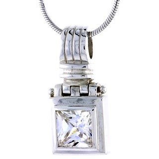 Sterling Silver Cubic Zirconia Square Pendant 7 16 Inch Wide