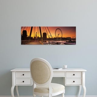Easy Art Prints Panoramic Image 'Golden Jubilee Bridge, Thames River, Millennium Wheel, London, England' Canvas Art