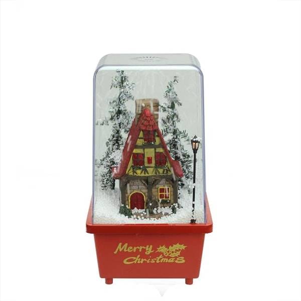 "11.5"" Lighted Musical Snowing House Christmas Table Top Snow Dome - RED"