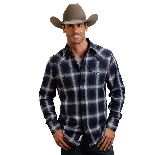 c5bcfae7 Shop Stetson Western Shirt Mens Plaid L/S Snap Blue - Free Shipping Today -  Overstock - 15380027