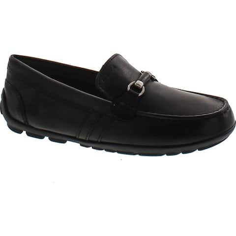 Geox Boys New Fast Leather Fashion Slip On Loafers with Chain - Black