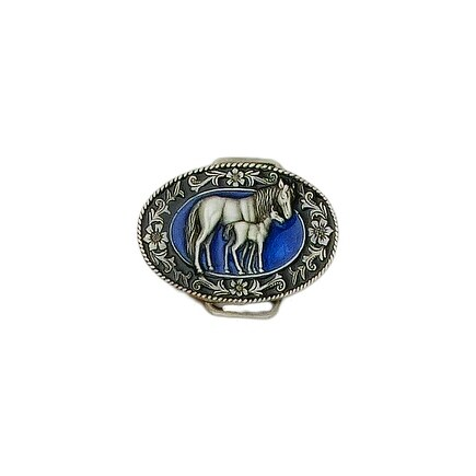 Mare and Colt Blue Enamel Belt Buckle - One size