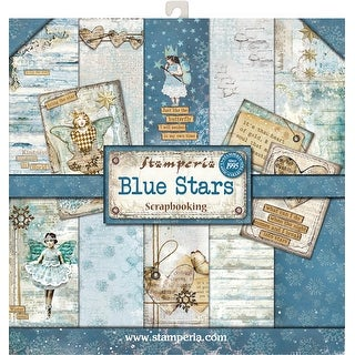 """Stamperia Double-Sided Paper Pad 12""""X12"""" 10/Pkg-Blue Stars, 10 Designs/1 Each"""