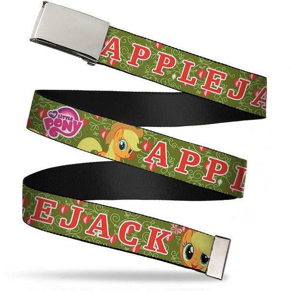 Blank Chrome Buckle Applejack Pose Face Close Up Apples Swirls Greens Web Belt