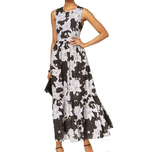 cd03d348087 Shop CeCe NEW Black White Womens Size 4 Floral Print Flounce Maxi Dress -  Free Shipping Today - Overstock - 19497725