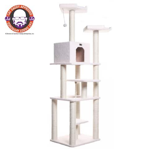 Armarkat Model B7801 Classic Cat Tree in Ivory, Jackson Galaxy Approved, Six Levels with Playhouse and Rope Swing