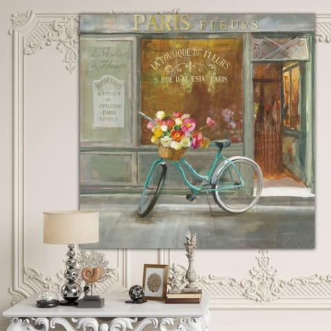 Designart 'Paris French Flowershop ' Traditional Gallery-wrapped Canvas