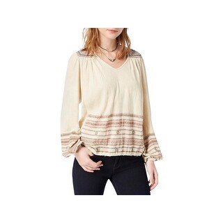 Lucky Brand Womens Peasant Top Embroidered Bishop Sleeves