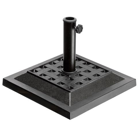 """17"""" Square Black Resin Umbrella Base with Basket Weave Design"""