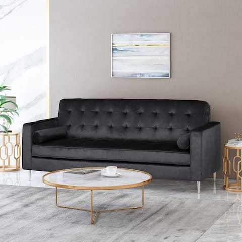 "Poynes Tufted Velvet 3-Seater Sofa by Christopher Knight Home - 82.50"" W x 34.50"" L x 35.50"" H"
