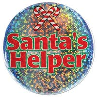 """Club Pack of 12 Shimmering """"Santa's Helper"""" Christmas Buttons 3.5"""" - RED"""