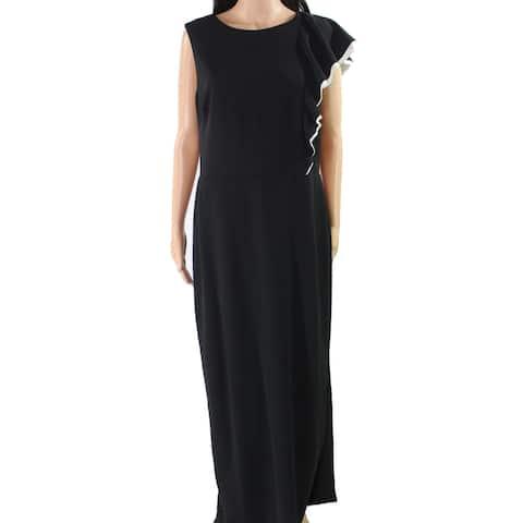 Lauren by Ralph Lauren Womens Dress Black Size 14 Gown Ruffle-Shoulder