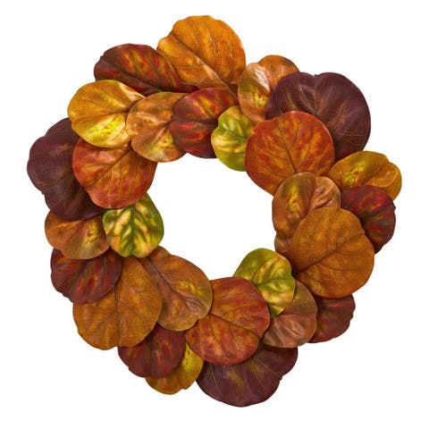 """Nearly Natural Home Decorative 29"""" Fiddle Leaf Artificial Wreath"""