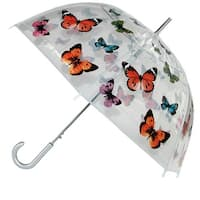 CTM® Women's Butterfly Print Clear Bubble Stick Umbrella - One size