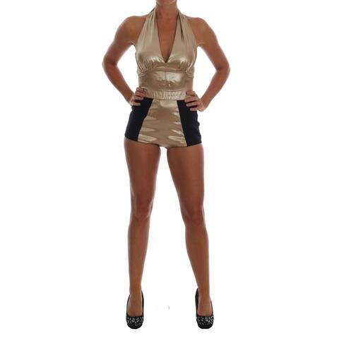 Dolce & Gabbana Gold Silk Stretch Romper Women's Body - it40-s