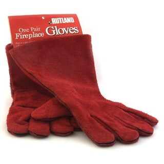 Rutland 702 Fireplace Gloves, Leather, Red
