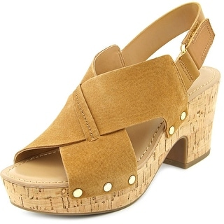 Franco Sarto Kicks Women Open Toe Leather Brown Wedge Sandal