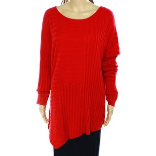 INC NEW Red Women's Size Large L Ribbed Knit Dolman Sleeve Tunic Top