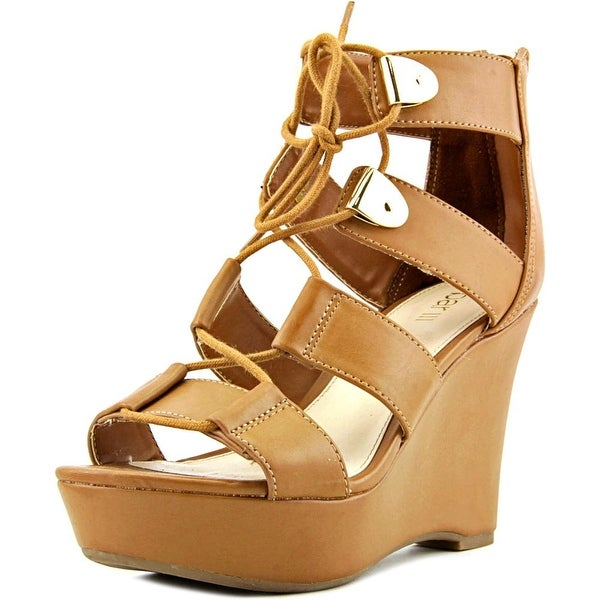 Bar III Sahara Women  Open Toe Synthetic Tan Wedge Sandal