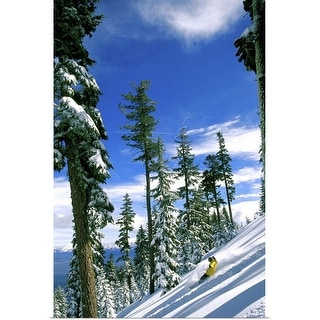 """""""High angle view of a man snowboarding"""" Poster Print"""