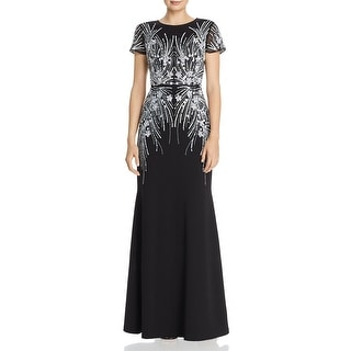 Adrianna Papell Womens Formal Dress Beaded Sequined - Black/Ivory