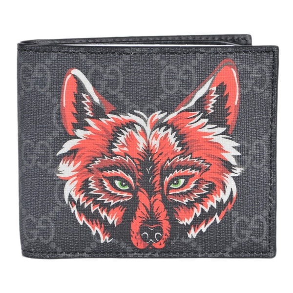 aea5754a7bcfc Gucci Men  x27 s Black Grey GG Supreme Canvas Wolf Pattern Logo Bifold  Wallet