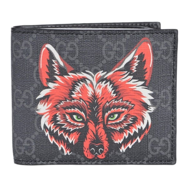 10e4f776fd Gucci Men's Black Grey GG Supreme Canvas Wolf Pattern Logo Bifold  Wallet