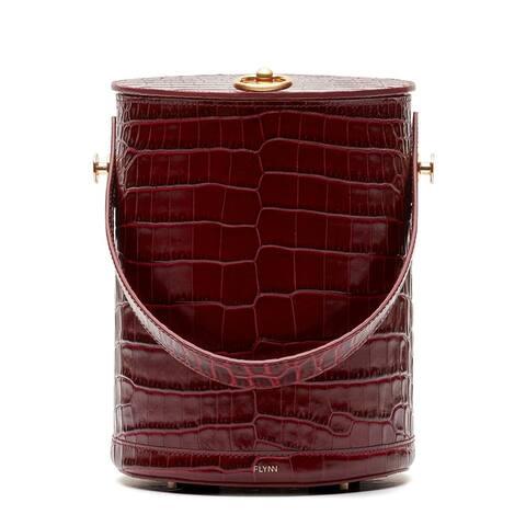 Flynn Pilla Croc-Embossed Leather Cylinder Bag