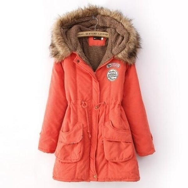 Faux Fur Collar Slim Hooded Parka