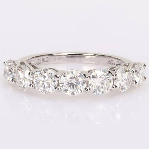 Miadora 2 1/2ct DEW Moissanite Semi-Eternity Band Ring in 10k White Gold