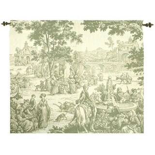 "Toile Style Riverside Marketplace Cotton Tapestry Wall Art Hanging 38"" x 47"""