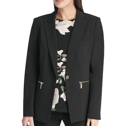 DKNY Women's Jacket Deep Black Size 16 Single Button Seamed Pockets