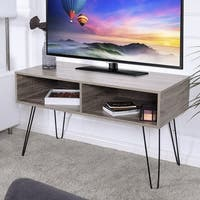 Costway TV Stand Wood Media Console Entertainment With Metal Hairpin Legs TVs up to 42'' - Oak