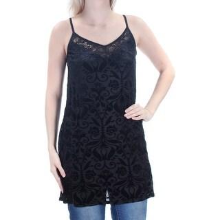 AS YOU WISH $59 Womens 1771 Black Floral Velvet Top S Juniors B+B